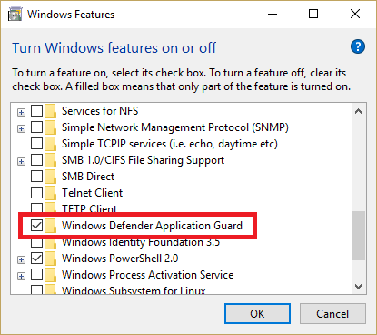 Windows 10 Fall update 1709 Security Feature 1: Windows Defender Application Guard