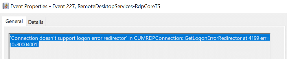 Windows 10 version 1809 black screen when connecting RDP to