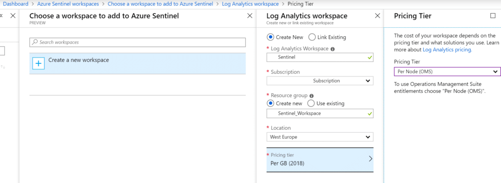 Azure Sentinel Workspace settings