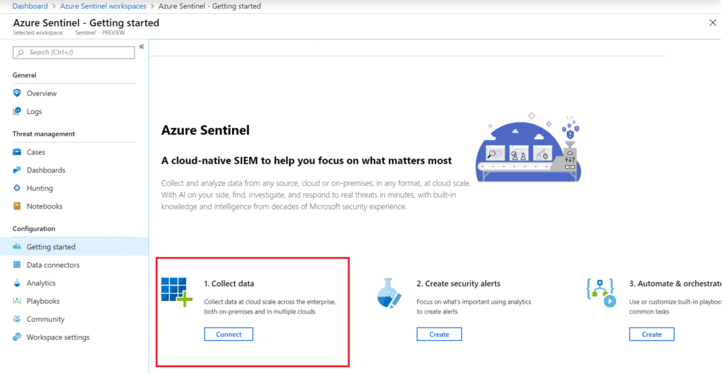 Collect Data to Azure Sentinel Workspace