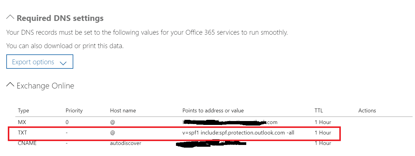 Office365 SPF DKIM and DMARC