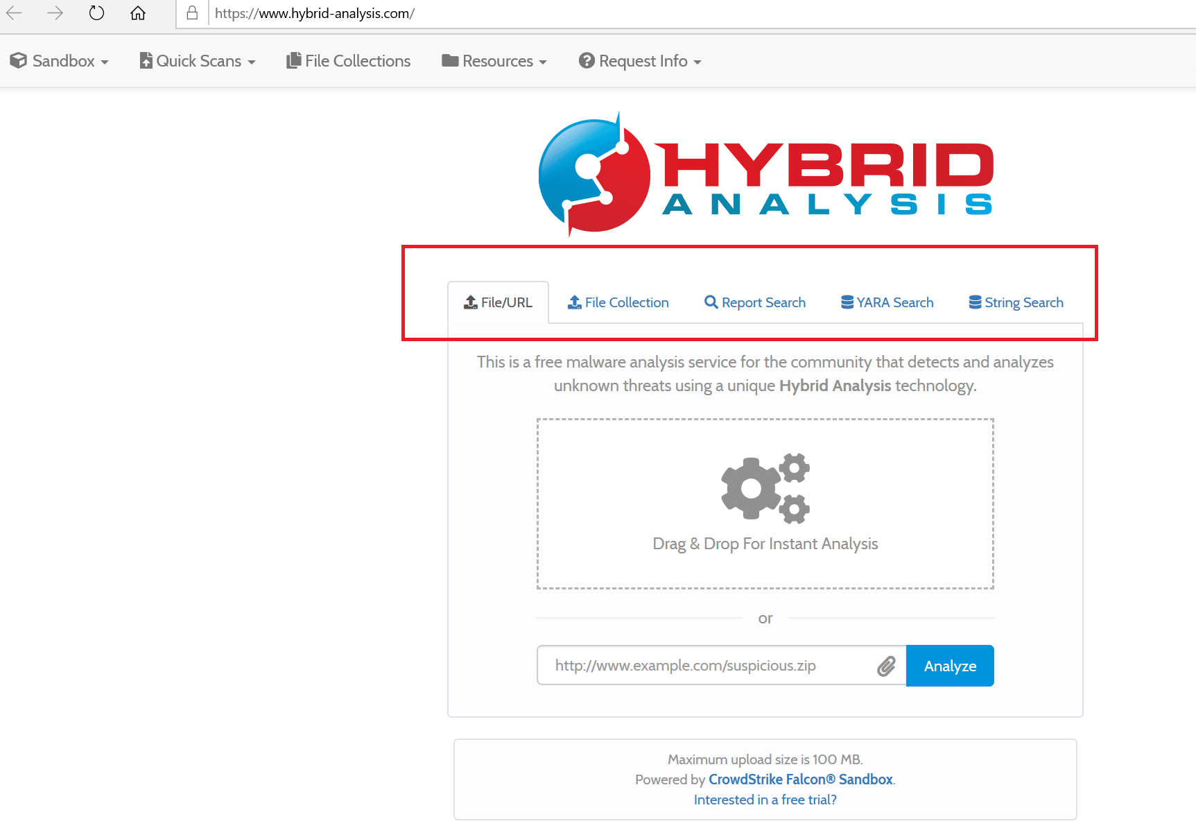 Submit file for Hybrid Analysis by Crowdstrike
