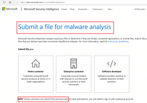 Submit file to Microsoft Malware Analysis