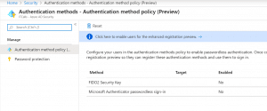 Azure Active directory passwordless authentication methods