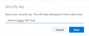 Give your new FIDO2 Key a name